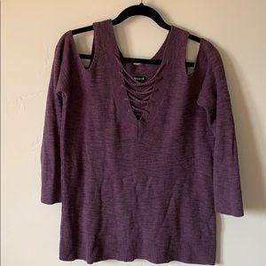 Express Purple Reversible Sweater